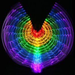 Discount bulb costumes - Colorful Belly Dance Performance Costume LED Light up Wings Dance Accessories Girls LED Wings Costume LED Butterfly Wing