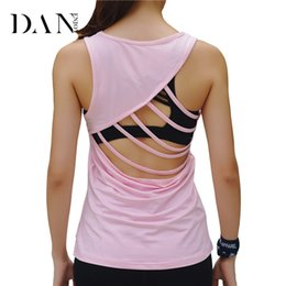 $enCountryForm.capitalKeyWord Canada - DANENJOY Bandage Gym Fitness Yoga T Shirt Top Sport Sleeveless Sportswear 2017 Women Workout Hollow Black Running Quick Dry Vest
