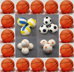 Squeezing Balls Free NZ - Jumbo Basketball Football Volleyball Squishy Slow Rising Toys PU Sport Ball Fun Kids Squeeze Soft Relieve Charms 5 Types OMG