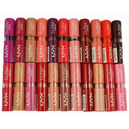 Professional Lipstick Factories Australia - New 12 Colors Women Brand NYX Butter Lipstick Factory Price Long Lasting Lip Gloss Professional Makeup NYX Butter Liptstick 12pcs lot