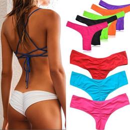 731f0657f3d v back thongs 2019 - Bikinis Bottom Pure Color Brazilian T-back Semi V Thong