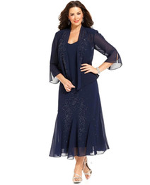 plus gowns jackets UK - 2018 Dark Navy Chiffon Tea Length Crystal Plus Size Mother of the Bride Dresses with Jacket Long Sleeves Mother Wear Wedding Guest Gowns