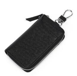 Leather Car Key Case UK - PU Leather Car Key Wallets Men Key Holder Housekeeper Keys Organizer Women Keychain Covers Zipper Key Case Bag Pouch Purse