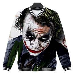 Chinese  Mens Joker Clown Baseball Jackets Devil Patter Single Breasted Jackets Sports 3D Designer Coats manufacturers