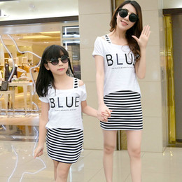$enCountryForm.capitalKeyWord NZ - Mother Mom and Daughter T-shirt + Stripe Dresses Clothes Fashion Family Matching Outfits Summer Dress Family Clothing
