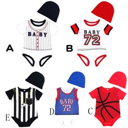 6859e71ef6e7ad Baby boys Baseball basketball Print Rompers Fashion 2018 Summer infant sports  Jumpsuits Boutique kids Climbing clothes with hat C4023