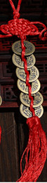 Chinese  Wholesale- Red Chinese knot FENG SHUI Set Of 6 Lucky Charm Ancient I CHING Coins Prosperity Protection Good Fortune Home Car Decor manufacturers