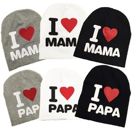 Discount cotton knit beanies wholesale kids - I Love Mama Papa Baby Hat Cartoon Spring Autumn Baby Knitted Warm Beanie Hats for Kids Girl Boy children