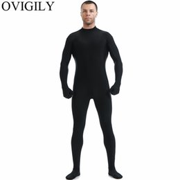 lycra spandex costumes 2019 - OVIGILY Mens Black Full Body Zentai Suit Spandex Lycra Turtleneck Bodysuits Nylon Skin Tights Unitards Cosplay Bodysuits