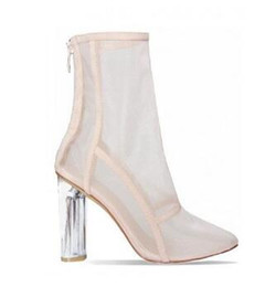 68d5eaf93f4 2018 Black Pink Orange Perspex Block High Heel Clear Shoes Woman Pointy Toe  Booties Cut Outs Summer Mesh Fabric Ankle Boots