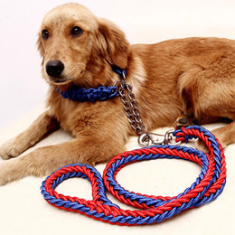 slip leads wholesale NZ - Adjustable Dog Collar Leash Nylon Pet Leash Rope For Large Dogs Soft Dog Collar Set P Chain For Small Puppy Dogs Training Slip