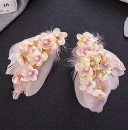 Smart Hair NZ - Korean feather flower head tiara clip Sweet hair smart hair accessories wedding jewelry wedding dress