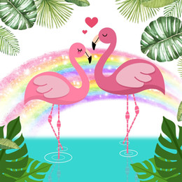 cartoon baby background Australia - Laeacco Baby Party Cartoon Flamingos Flower Monstera Rainbw Photo Backgrounds Customized Photographic Backdrops For Photo Studio