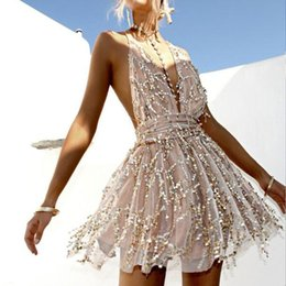 Polyester Woven Strap NZ - sexy Spaghetti Strap sequined gown mini Clothes Women deep v neck