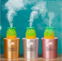 air humidifier purifier NZ - New Arrival Mini Creative Pineapple Humidifier 130 ML USB Night Light Diffuser Air Purifier For Home Car Office Mist Maker