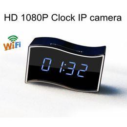 mini nanny cams 2019 - 170 degree Wide Angle Mini Camera Desk Clock Night Vision Alarm Clock Full HD 1920x1080 Nanny Cam IP Clock Support Andro