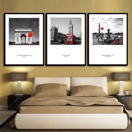 Big Ben Paintings Australia - 3 Piece Nordic Style Big Ben Arc De Triomphe Paris Concorde Poster Canvas Art Print Painting Red Bus Car Balloon Wall Picture