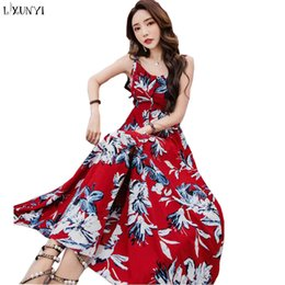 c104384f2f6 Discount sexy korean women s dress - LXUNYI Women Summer Sexy Maxi Dress  Backless Flower Print