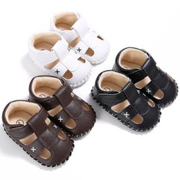 Brown Toddler Sandals Australia - Summer Baby Shoes Fashion PU Leather Babies Sandals Brown Black White Toddler Shoes Better Quality Infantil Crib Babe