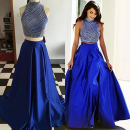 long evening dresses fat women 2021 - Royal Blue Two Pieces Evening Dress For Fat Women High Neck A line Satin Crystal Plus size Long Cheap Prom Formal Dress Gowns