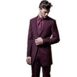 $enCountryForm.capitalKeyWord UK - Custom Made Wedding Suits Slim Fit Mens Tuxedos Wine Red Best Man Notch Lapel One Button Suit( jacket+Pants+vest+tie)