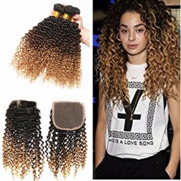 $enCountryForm.capitalKeyWord Australia - Hot Selling Kinky Curly Human Hair Weaves With Top Closure Dark Roots 1b 4 27 Human Hair 3 Bundles With Lace Closure