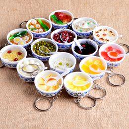 Chinese Porcelain Pendants Australia - Chinese Blue And White Porcelain Food Bowl Mini Bag Pendant Simulation Food Key Chains Noodle Creative Keychain Women Jewelry 53