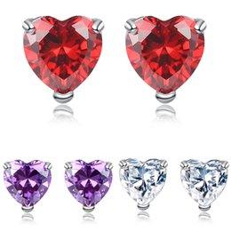Plata esterlina Stud Pendientes 6mm Cristal Rojo Redondo