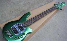 $enCountryForm.capitalKeyWord Australia - Custom Bongo Music Man 6 Strings Bass Erine Ball StingRay Metallic Green Electric Bass Guitar 9V Battery Active Pickups Pearl Pickguard