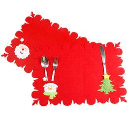 $enCountryForm.capitalKeyWord Australia - 2 In 1 Christmas Table Mat Fork Spoon Knife Pocket Silverware Holder Xmas Home Party Dinner Table Christmas Decoration for Home Y18102609