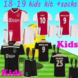 5c1ccbacfd0 top quality 2018 2019 Ajax FC Soccer Jerseys kids kits + socks 18 19 Camisa  ZIYECH TADIC HUNTELAAR DOLBERG SCHONE Jerseys Football Shirts