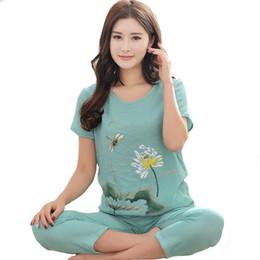 $enCountryForm.capitalKeyWord Canada - New Green Print Female Pajamas Set Plus size Sleepwear Chinese Women Cotton Linen Floral Lotus Pyjamas Suit Flower Nightwear