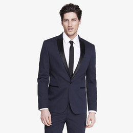 bridegroom custom jacket UK - Custom Made Navy Blue Men's Suits Man Blazer Slim Fit Wedding Suits Bridegroom Groomsmen Jacket 2Piece Trajes de Hombre Best Man Prom Tuxedo