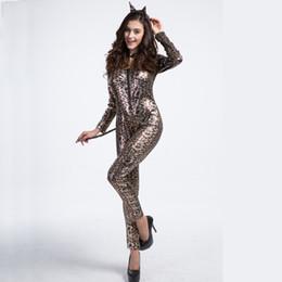 $enCountryForm.capitalKeyWord UK - New Sexy Cat Jumpsuit Leopard Print Wildcat Cosplay Costume Women's Deluxe Lingerie Catsuits Ladygaga Zentai Bodycon Costumes