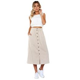 f436d0b137 Las mujeres elegantes de la vendimia de cintura alta botón frontal de la  falda larga floja ocasionales inferiores partido falda midi con bolsillos