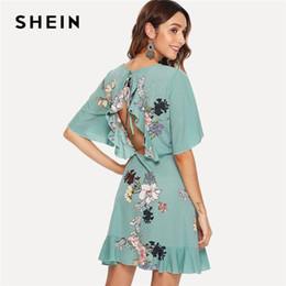 Shein Dresses Canada - SHEIN Green Vacation Tribal Bohemian Beach Bell  Floral Print Flounce Sleeve Ruffle 07633aa50