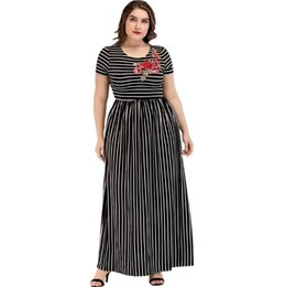 84bc7d92610 Women s Stripe Patchwork Embroidery Long Dress Summer 2018 Elegant Ladies  Plus Size Maxi Dress A Line T Shirt Dresses