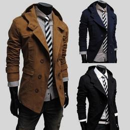 Hot clotHing for black men online shopping - New Mens Fashion hoodies jacket overcoat Hot Double breasted Design Hooded Leisure Slim Windbreaker Coat for men clothing