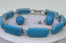 quartz stone price Canada - Wholesale price 16new ^^^^ Blue stone Link Bracelet Earrings Set