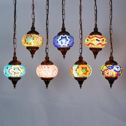 Bohemia Colorido Corredor de Cristal Colgante de Luz País Rústico Mosaico Balcón Pasillo Lámpara Colgante Pavo Colgante Accesorio de Iluminación