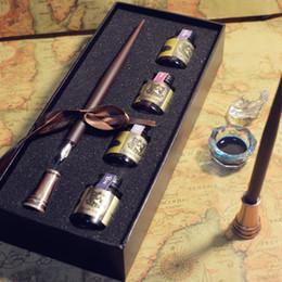 $enCountryForm.capitalKeyWord Australia - Retro solid wooden handle dip pen, water brush, birthday gift, calligraphy pen