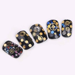 Wholesale Gold Nail Time Gear Decorations Ultra thin Punk Machinery Style Studs D Nail Art Tools Polish DIY Wheel Tablets Stickers