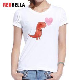 $enCountryForm.capitalKeyWord Australia - Women's Tee Redbella Tee Shirt Femme Kawaii Ulzzang Dinosaur Lovely Heart Korean Pattern Design Humor Funny Graphic Cotton Tshirt 2017 Tops