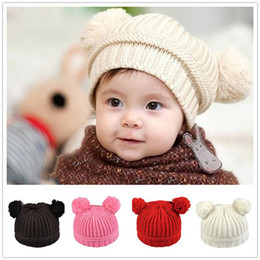 $enCountryForm.capitalKeyWord Canada - 5 colors Infant Baby Unisex Double Bobbles Beanies Knitted Ribbed Hats Children Kids Autumn Winter Warm Solid Color Caps Y250