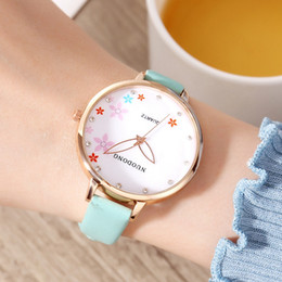 Wholesale Fashion thin bands flower printing women leather watches ladies girls beautiful gardening students quartz dress wrist watches