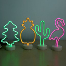 Neon Light Switch Australia - Neon Sign Table LED Night Light Cactus Coconut Tree Christmas Tree Pineapple 3D Neon Table Desk Lamp For Festival Party Decor