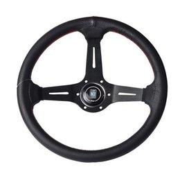 Опт 14 дюймов 350 мм НД кожаный руль глубокий черный алюминиевый спицевое рулевое колесо с рогом