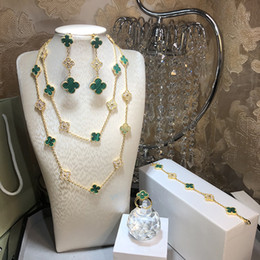 IndIan gold pearl necklace sets online shopping - Hot Top quality brand sterling silver four leaf flower jewelry set for women necklace bracelet earrings ring green shell clover jewelry