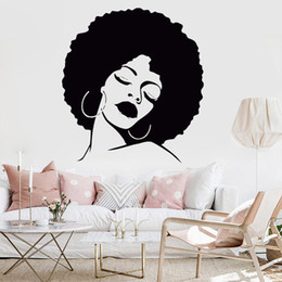 hair wall decals 2019 - Fashion Girl Vinyl Decorative Wall Art Sticker Lady Sexy Hair Spa Removable Waterproof Decal for Salon Decal Hair Salon