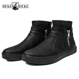 Discount metrosexual shoes Flat Zipper Winter Men Boots Black Vintage High Shoes Casual England 2018 New Personality Metrosexual Male Leather Boots